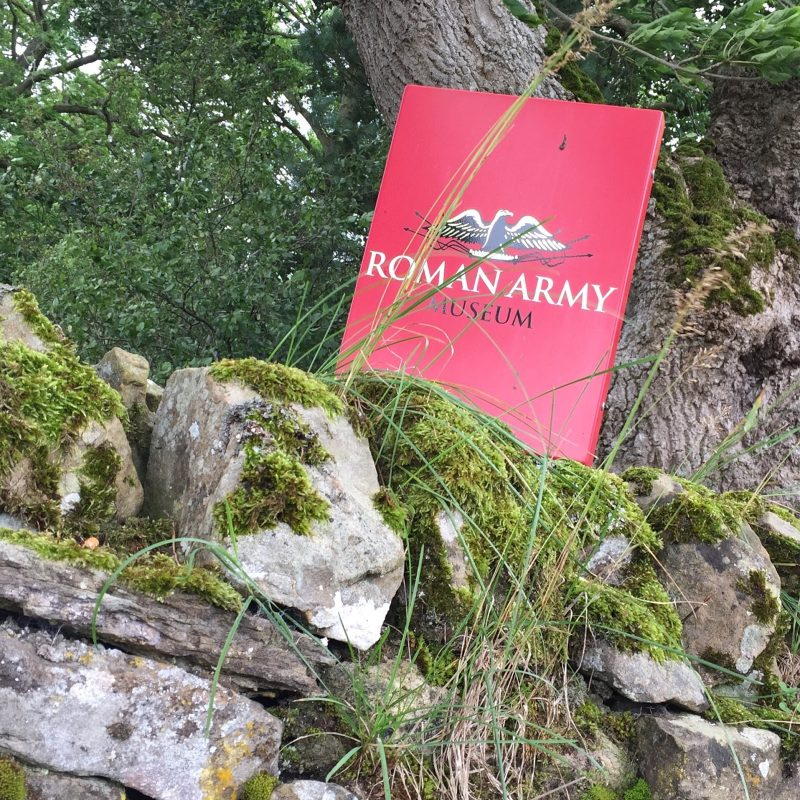 A roman army museum book on some mossy rocks at Hadrian's Wall