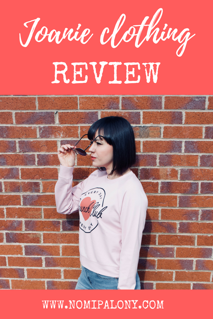 Joanie clothing review - a review of Joanie's Bronte reader club sweatshirt, Lotus brunch club sweatshirt and Zooey floral collar dress.