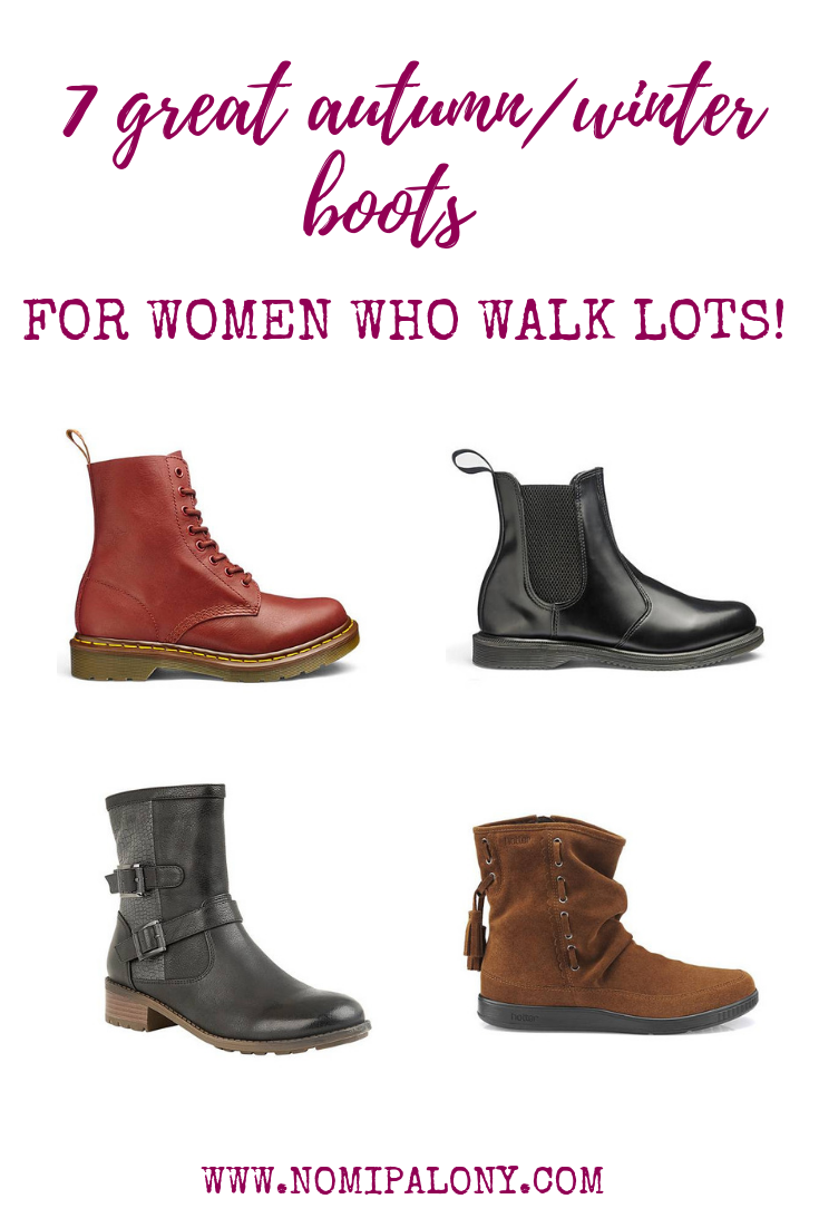 7 great autumn/winter boots for women who walk lots. Some excellent options for the school run or your walking commute here!